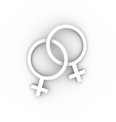 Two female gender symbols intertwined in white. High quality 3D illustration.