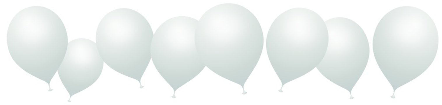 Ballons blancs sur fond blanc
