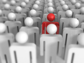 Different 3d Man Icon Out From Crowd. Leadership Concept