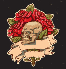 Vector some roses skull and banner on a black background.