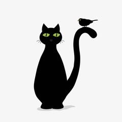 Cute black cat and bird
