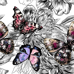 Vector seamless wallpaper pattern with vintage butterflies and p