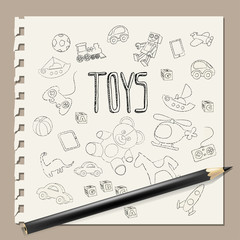 Hand-drawn doodle toys vector , pencil on note book background