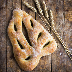 fresh baked Fougasse, traditional french bread,