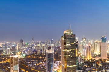 Jakarta business district at night