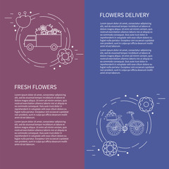 Two flyers, card with van and bike with flowers. Vector template