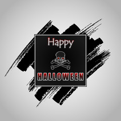 Happy Halloween message on grunge, brush texture; Holidays, template with scary skull and crossbones on black, grunge, brush texture and space for text