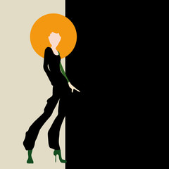 Abstract sketch of a woman in a black trouser suit and an orange hat. Collection of clothing, logo, fashion