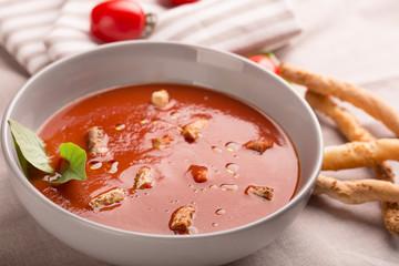 Spanish tomato gazpacho soup