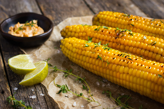 Grilled corn with garlic and chili butter