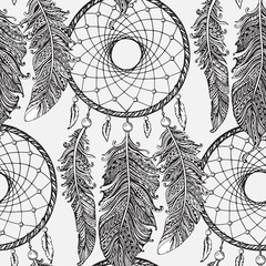 Seamless pattern with hand drawn dream catchers  in line art