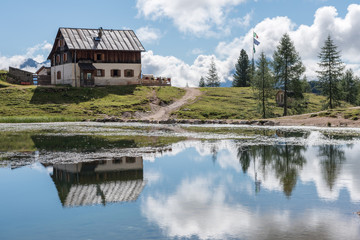 Backpacking in the italian dolomites during summer