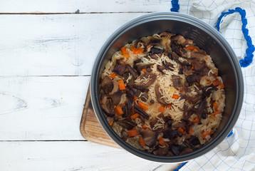 Vegetarian pilaf with porcini mushrooms