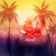 Summer Beach Party Flyer Design with Palmtrees - Vector Illustration