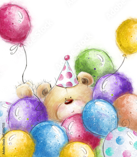 Cute Teddy Bear With The Colorful BalloonsBackground With Bear And