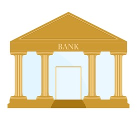 Gold Bank building with columns, stairs, roof inscription bank door and glass wall