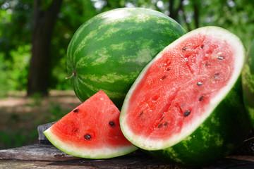 Fresh watermelon on stump of tree, closeup