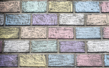 Concrete tiles colored chalk from children