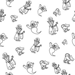 Seamless pattern on the theme of Halloween, wrapping paper, bringing Dracula