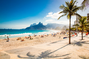 Acrylic Prints Brazil Palms and Two Brothers Mountain on Ipanema beach, Rio de Janeiro