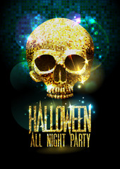 Halloween party poster with gold sparkles skull.