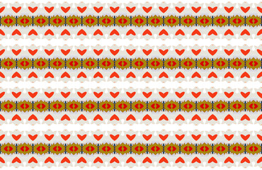 Red hearts and complex geometries pattern