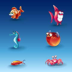 Kit of funny cartoon fishes