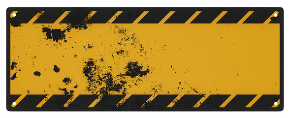 Blank grungy black and yellow caution sign isolated on a white b
