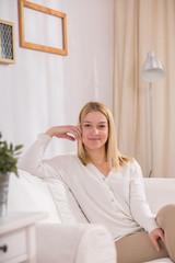 Female european sitting in lounge
