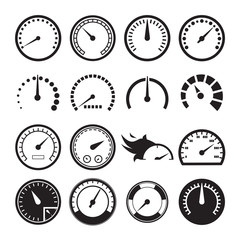 Set of speedometers icons. Vector illustration