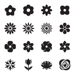 Flower icons. Vector illustration