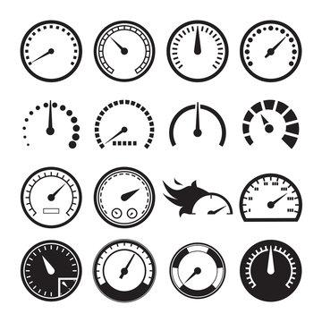 Set of speedometers icons. Vector illustration