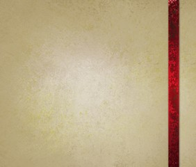 neutral beige or off white background with red ribbon trim accent