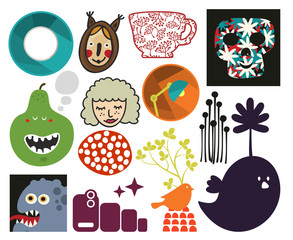 Mix of different vector images. vol.73