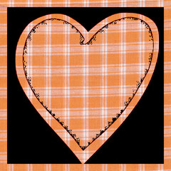 Orange plaid heart illustration