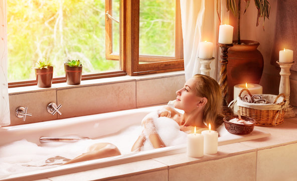 Woman bathing with pleasure