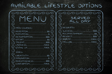 available lifestyle choices menu