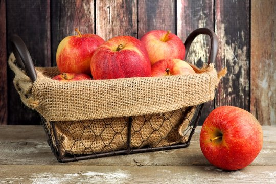 Fresh apples in a vintage wire basket with burlap against rustic wood background