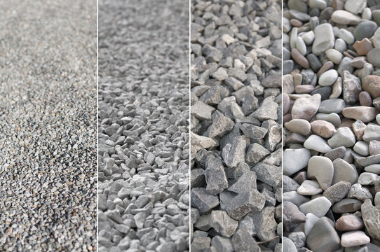 Kies in verschiedenen Korngrößen, Rohstoffe, Naturstein, natürliche Materialien für den Gartenbau und Landschaftsbau, Kieswerk, Produktportfolio, Spektrum