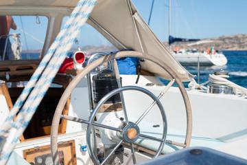 Sailboat, closeup of the rudder, Maddalena Archipelago, Sardinia, Italy