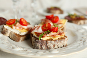 Tasty sandwiches on plate, close up