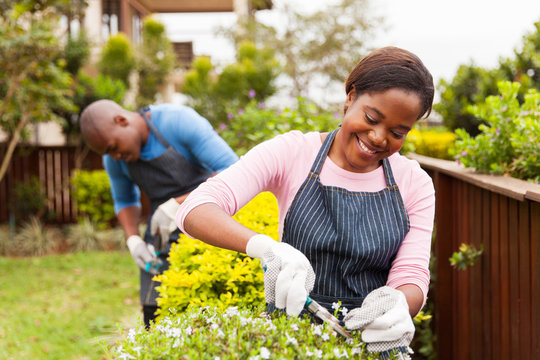 young african woman gardening with her husband