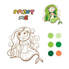 Coloring book with cartoon mermaid. Vector image.