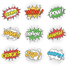 Collection of Nine Wording Sound Effects for Comic Speech Bubble