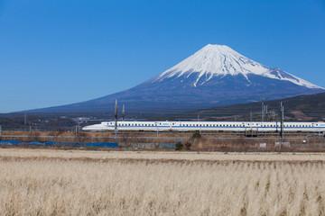 Bullet train Tokaido Shinkansen with view of mountain fuji at Shizuoka prefecture , Japan Wall mural