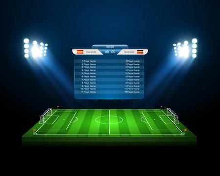 vector soccer field with scoreboard,vector
