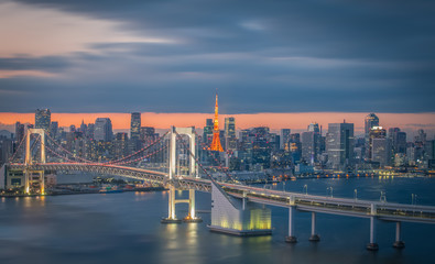 Poster Tokyo Tokyo city view with Tokyo rainbow bridge and Tokyo Tower