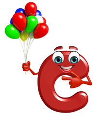 Cartoon Character of alphabet C with balloons