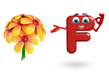 Cartoon Character of alphabet F with flowers