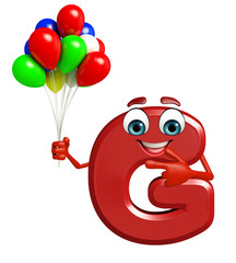 Cartoon Character of alphabet G with balloons